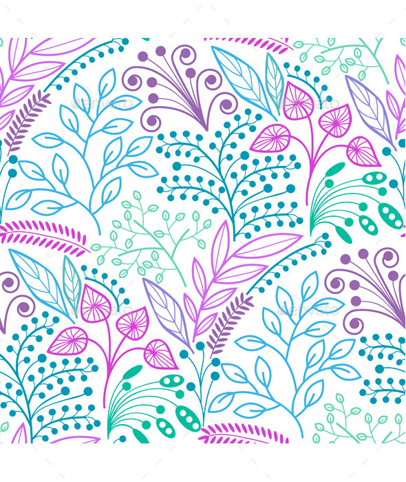 Bright Floral Seamless Pattern  - Patterns Decorative