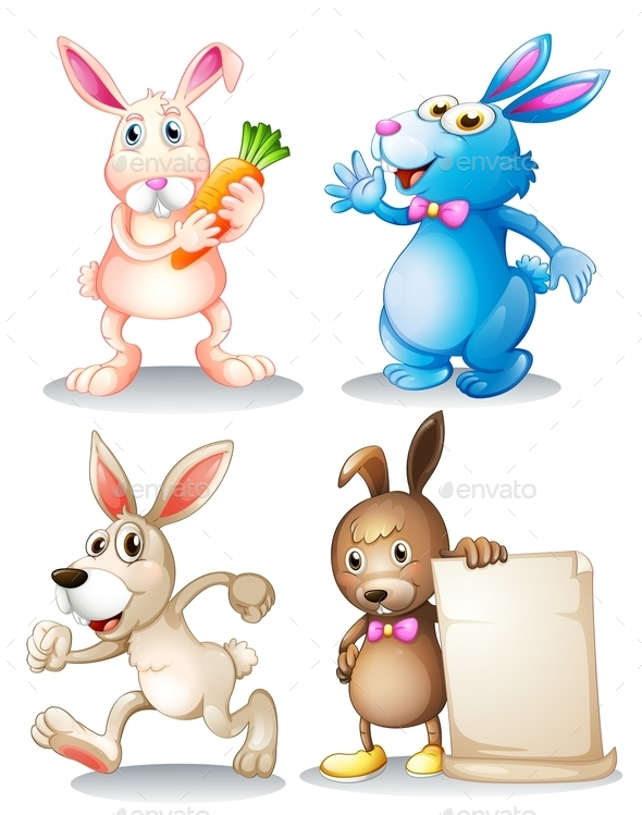 Four Rabbits - Animals Characters