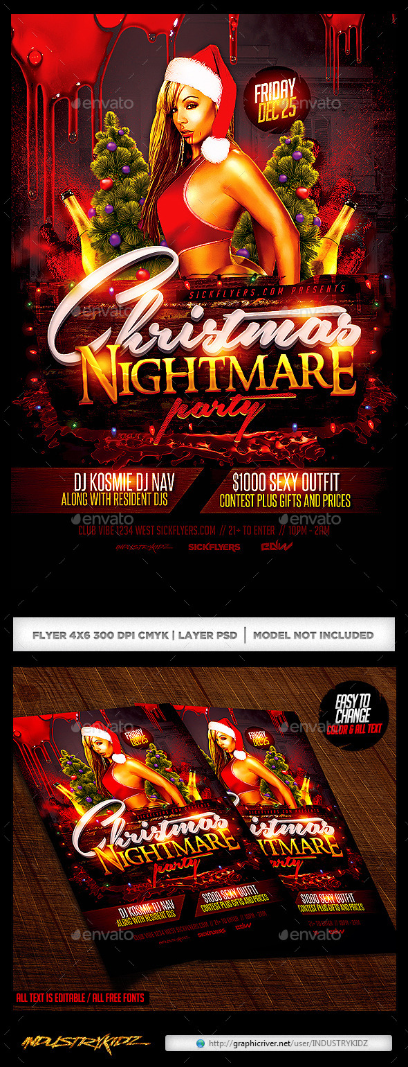 Christmas Nightmare Party Flyer - Holidays Events