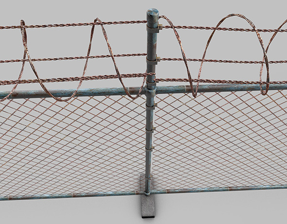 barbed wire fence - 3DOcean Item for Sale