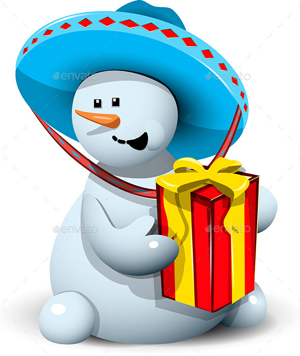 Snowman in a Sombrero with Gift - Christmas Seasons/Holidays