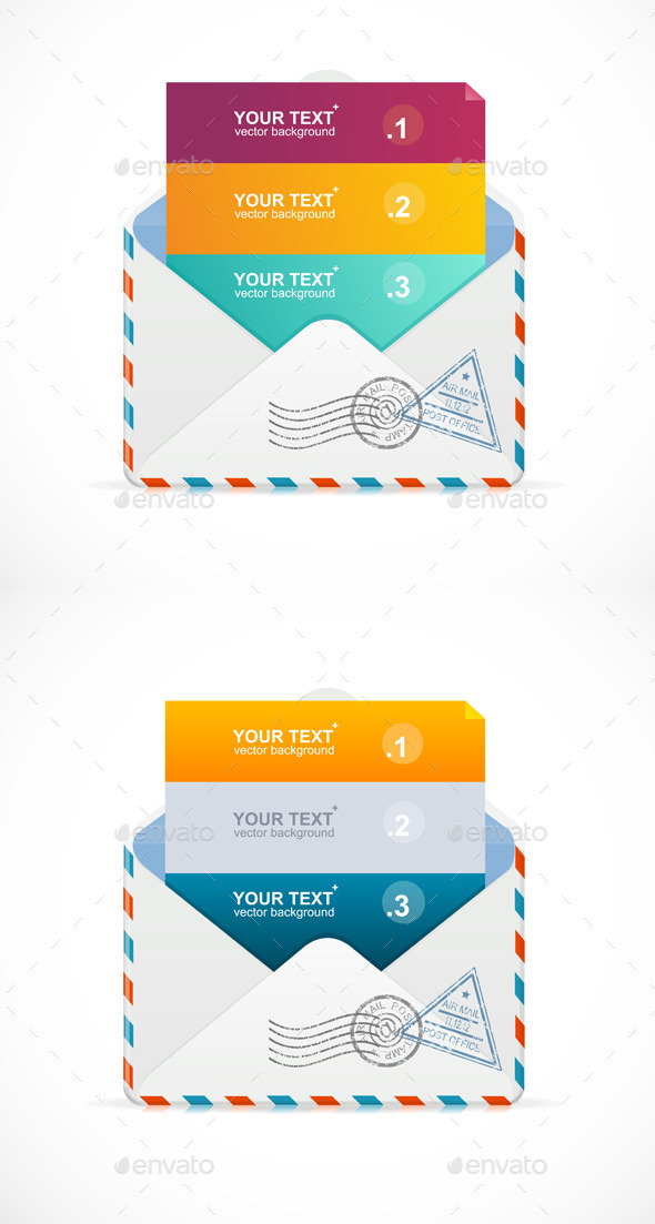 Mail Postcard Menu with 3 Choices - Web Technology