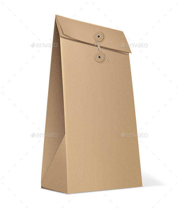 Paper Bag Isolated on White - Man-made Objects Objects