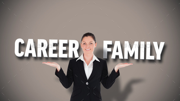 Composite image of smiling business person presenting grey background with text - Stock Photo - Images