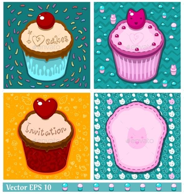 Set of Cake Cards Template - Birthdays Seasons/Holidays
