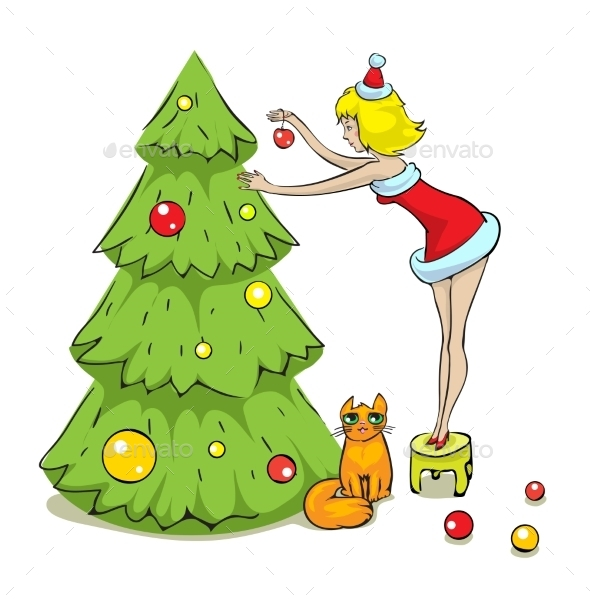 Girl, Cat and Christmas Tree - Christmas Seasons/Holidays