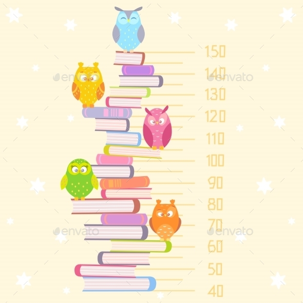 Owls on Books - Animals Characters