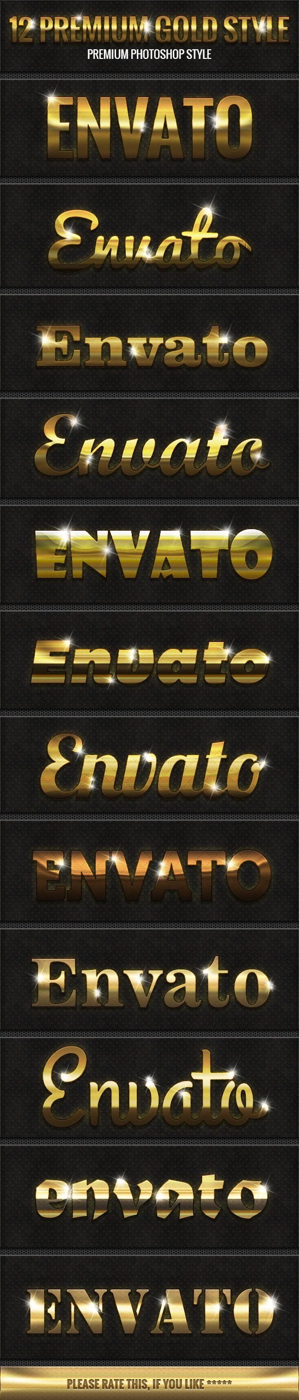 12 Premium Gold Style - Text Effects Styles