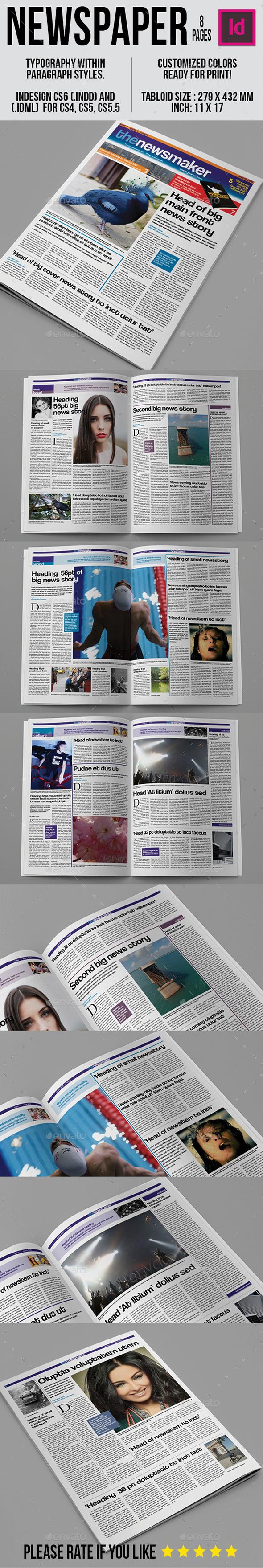 Tabloid Newspaper Template - Newsletters Print Templates