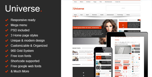 Universe - Responsive HTML5 Magazine - News, Blog - Creative Site Templates