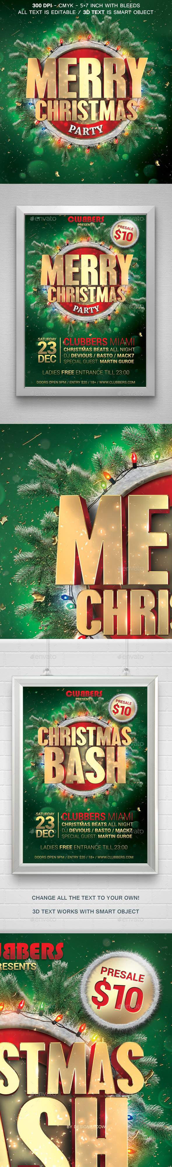 Merry Christmas Party Flyer - Holidays Events