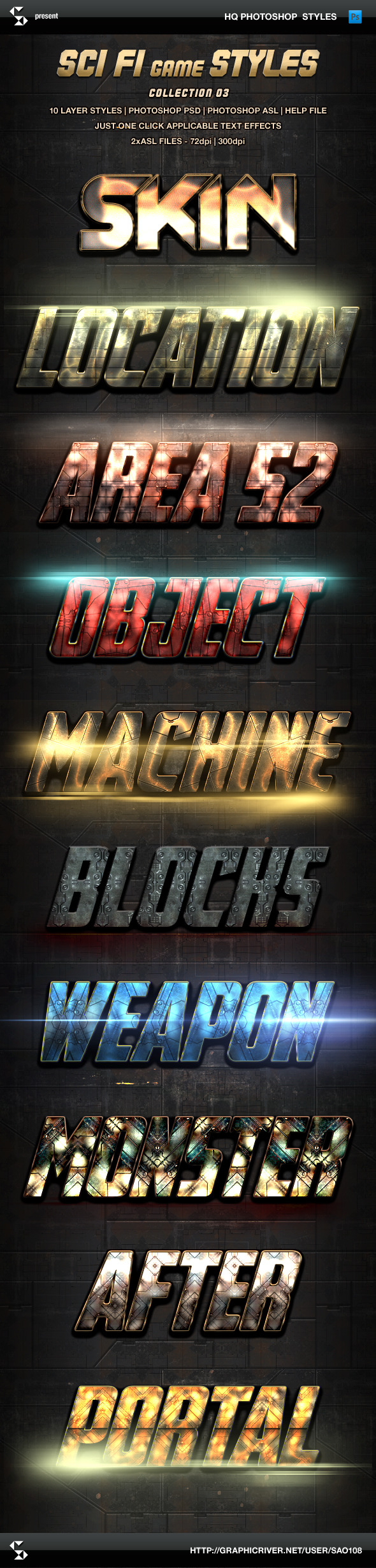 Sci-fi Game Styles - Collection 3 - Text Effects Styles