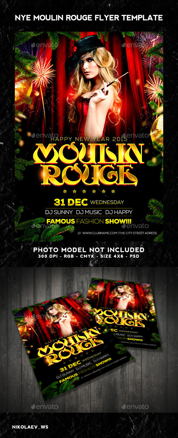 NYE Moulin Rouge 2015 Flyer - Clubs & Parties Events