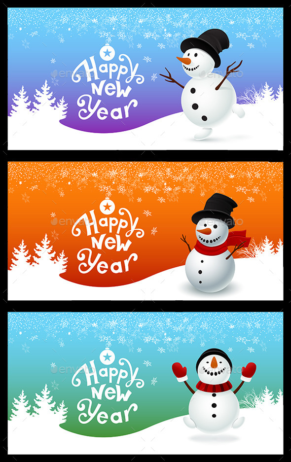 Holiday Card with a Snowman - Seasons/Holidays Conceptual