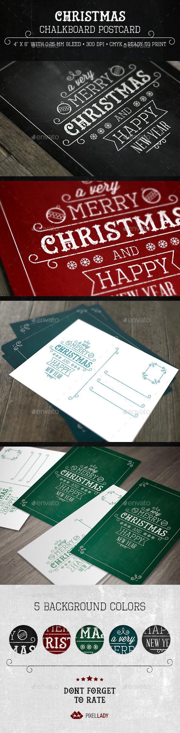Christmas Chalkboard Postcard - Cards & Invites Print Templates