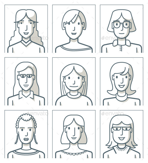 Nine Female Avatars - People Characters