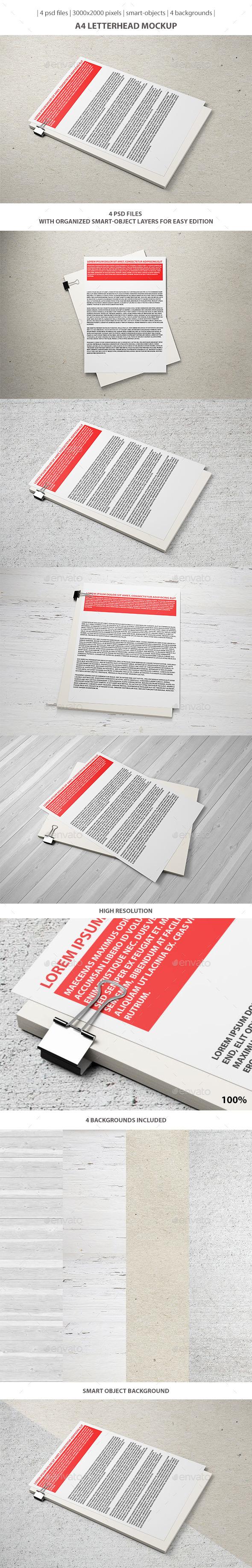 A4 Letterhead Mockup - Stationery Print