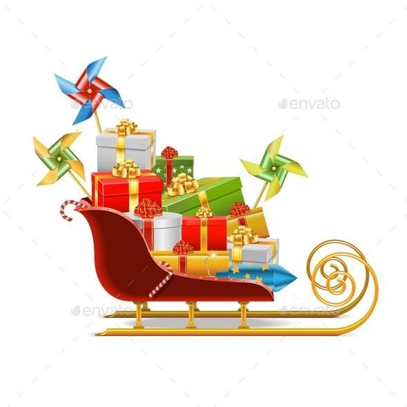 Sled with Gifts - Christmas Seasons/Holidays