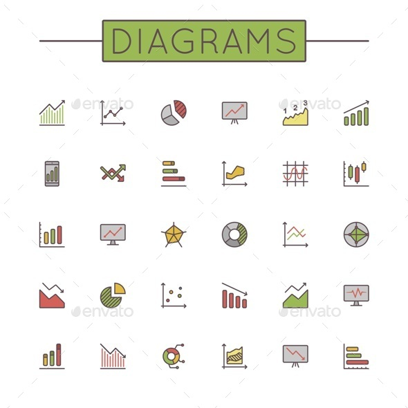 Vector Colored Diagrams Line Icons - Business Icons