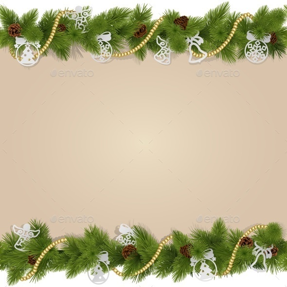 Christmas Background with Decorations - Christmas Seasons/Holidays