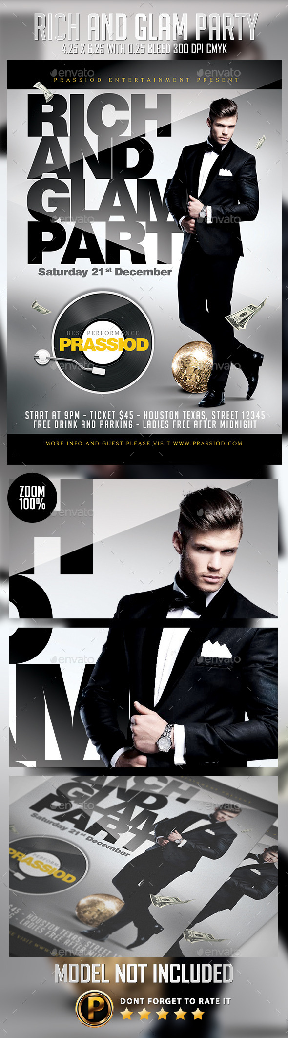 Rich And Glam Party Flyer Template - Clubs & Parties Events