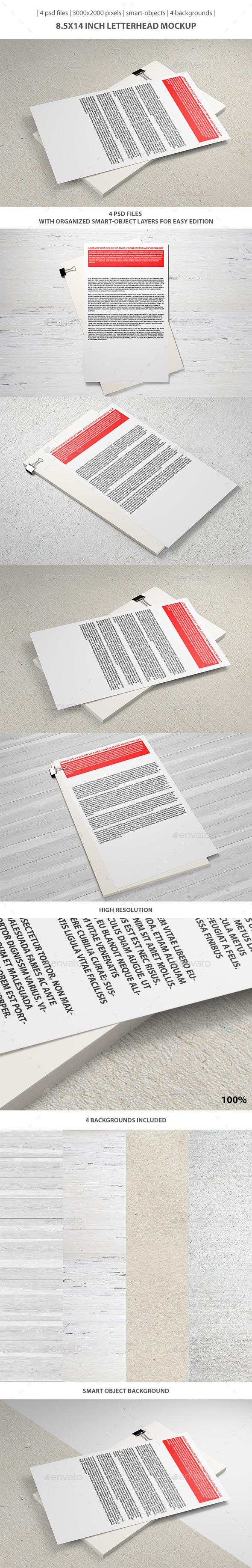 8.5x14 inch Letterhead Mockup - Stationery Print