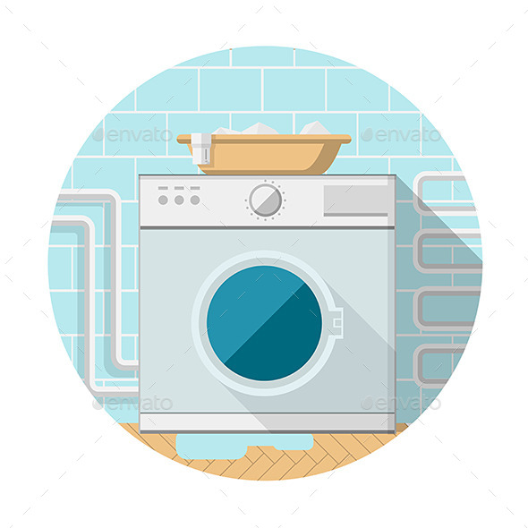Flat Icon of Washing Machine in Bathroom - Man-made Objects Objects
