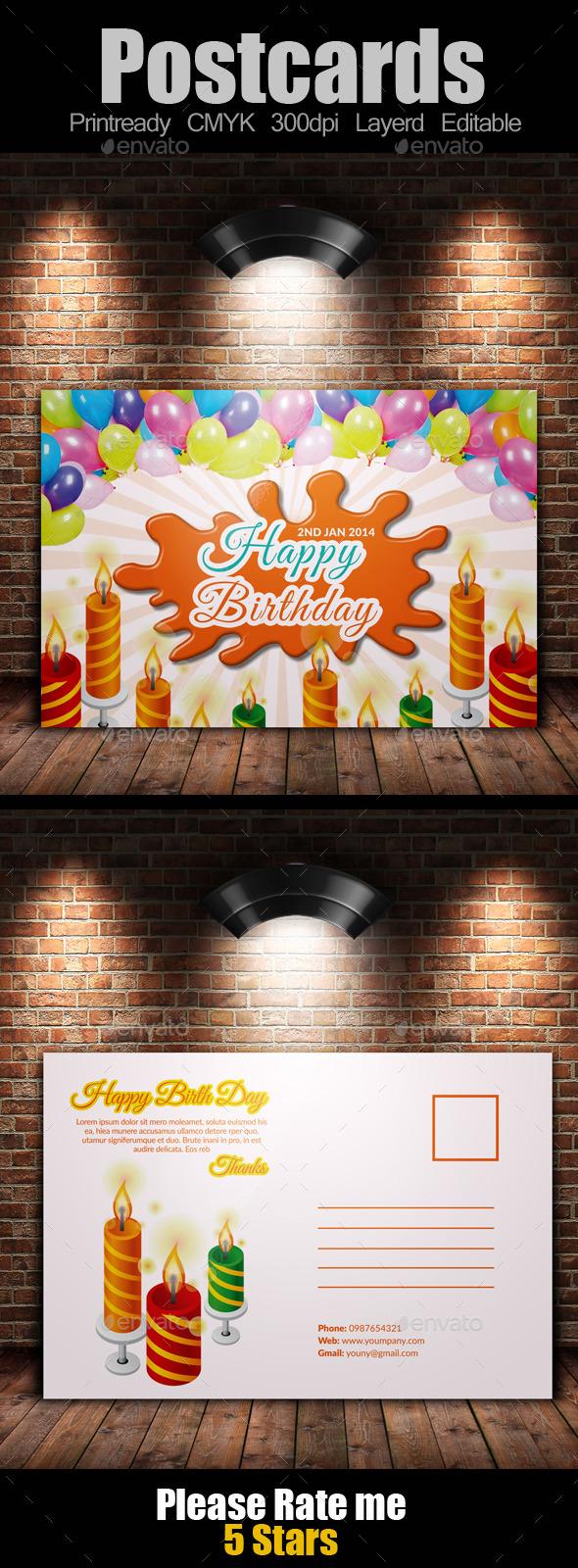 Birth Day Invitation Postcard - Cards & Invites Print Templates