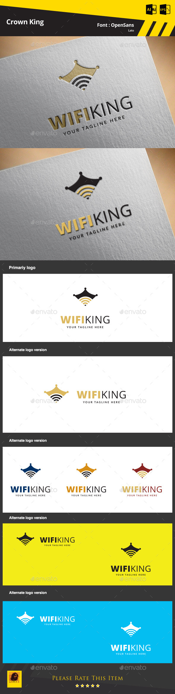 Wifi King Logo Template - Symbols Logo Templates