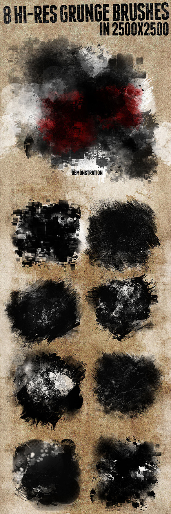 8 Hi-res Grunge Brushes - Abstract Brushes