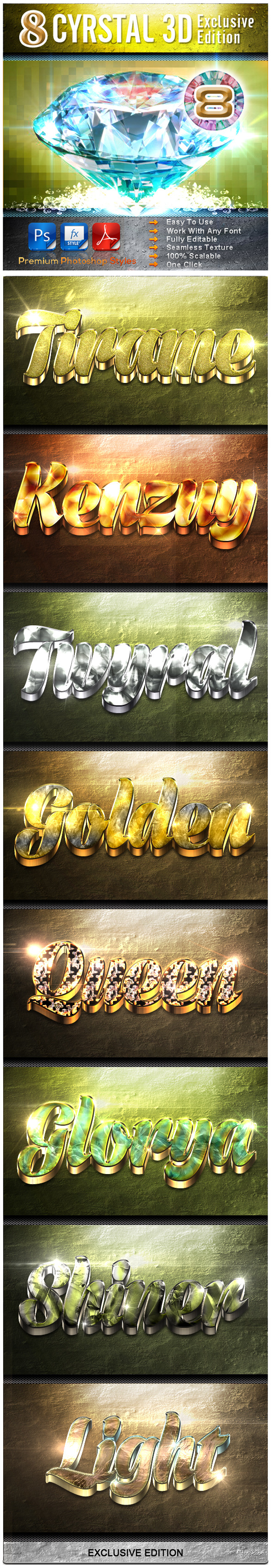8 Cyrstal 3D Exclusive Edition Vol.8 - Text Effects Styles
