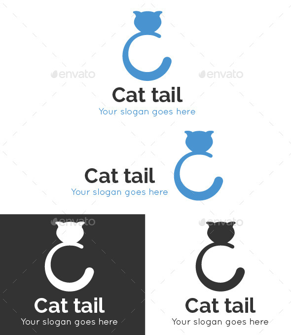 Cat Tail Logo Template - Animals Logo Templates
