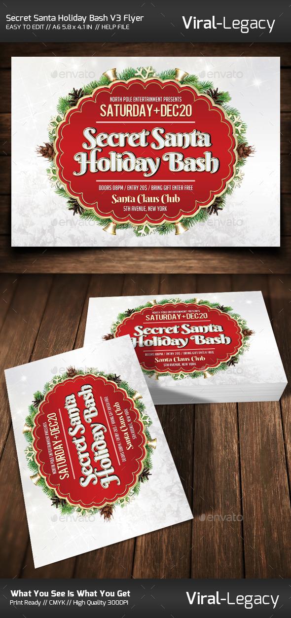 Secret Santa Holiday Bash V3 Flyer - Flyers Print Templates