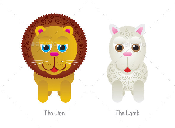 Vector Cute Lion and Lamb Illustrations - Animals Characters