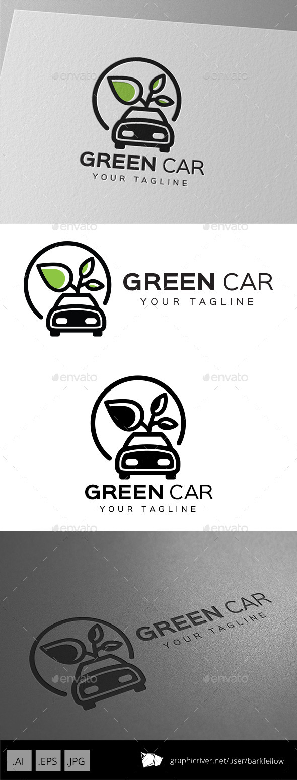 Green Eco Car Logo - Objects Logo Templates