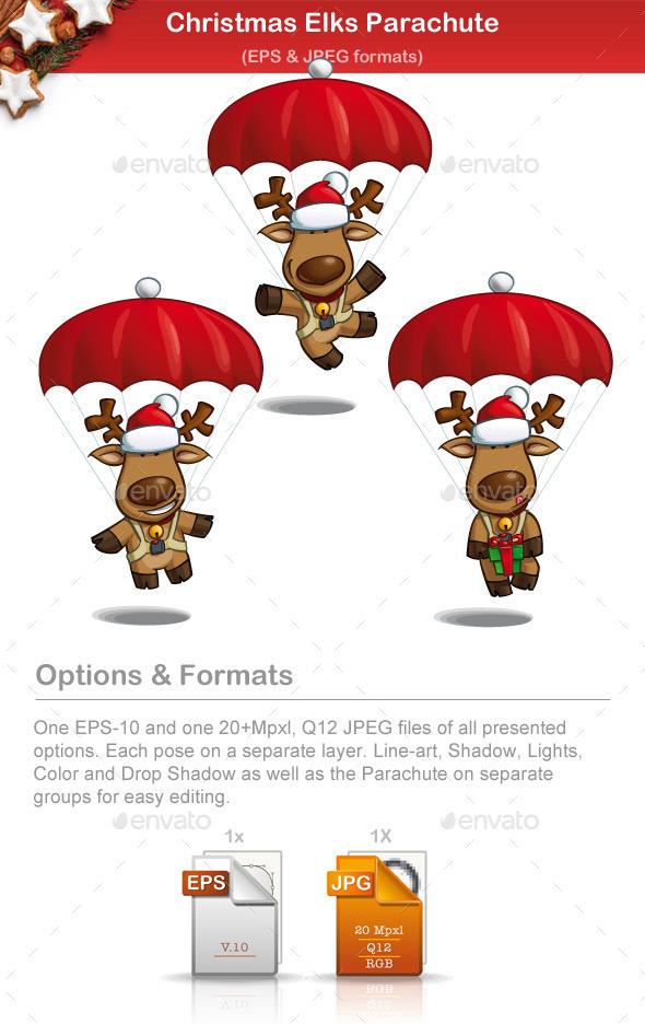 Christmas Elks Parachute - Christmas Seasons/Holidays