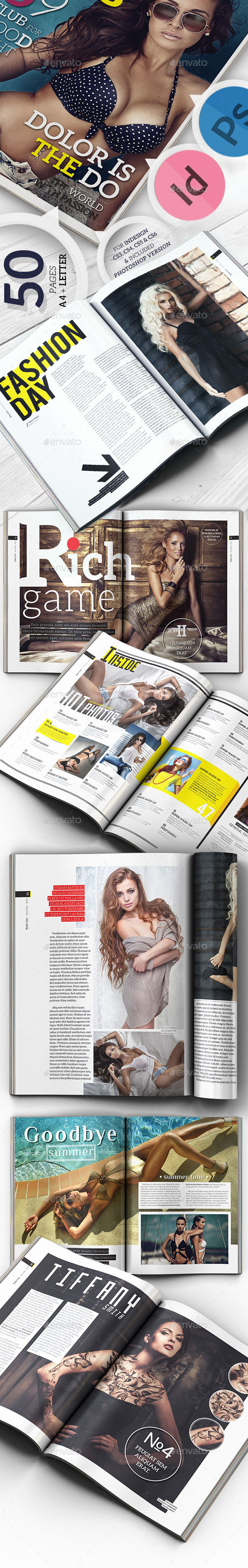 Creative Magazine For Indesign & Photoshop A4 + Letter Size - Magazines Print Templates