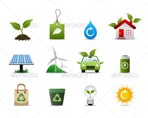 Green Environment Icon Vector - Web Elements