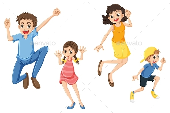 Family Jumping - People Characters