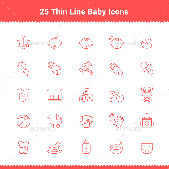 25 Thin Line Stroke Baby Icons - People Characters