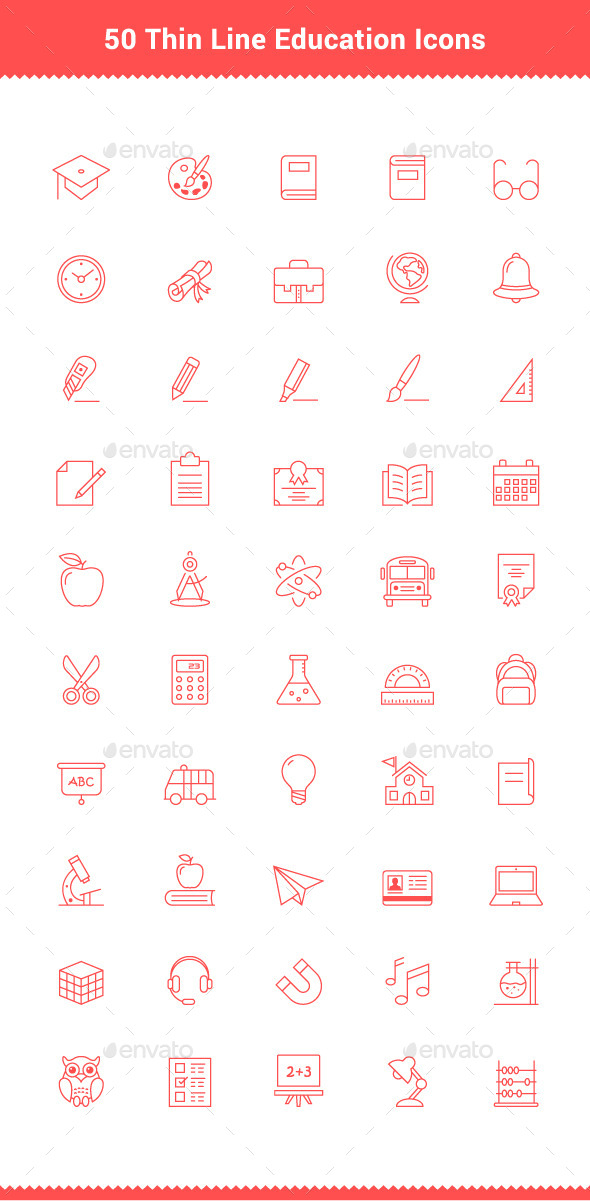 50 Thin Line Stroke Education Icons - Objects Icons