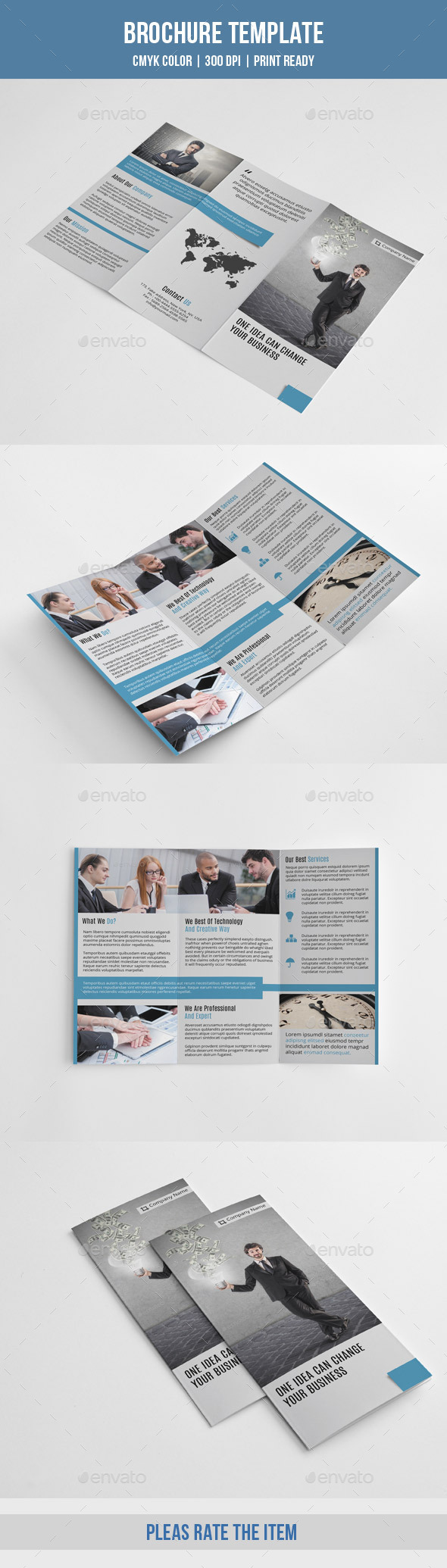 Minimal Trifold Business Brochure-V188 - Corporate Brochures