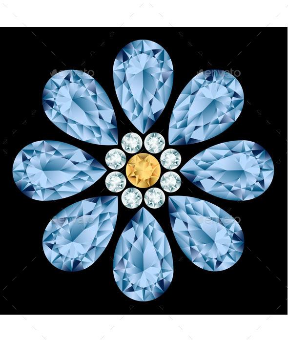 Flower Gemstone - Decorative Vectors