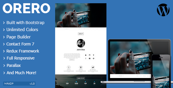 Orero Responsive One Page vCard WordPress Theme - Portfolio Creative