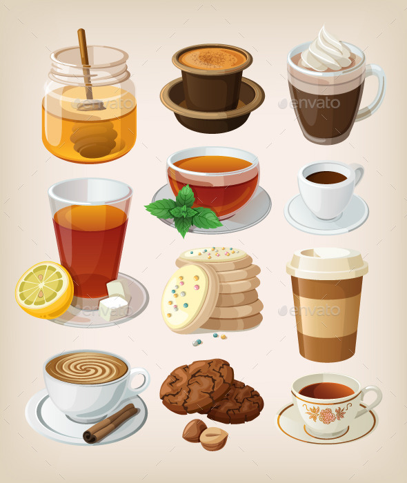 Set of Hot Drinks and Desserts - Food Objects