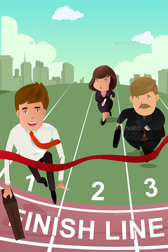 Business People running in Competition - Concepts Business