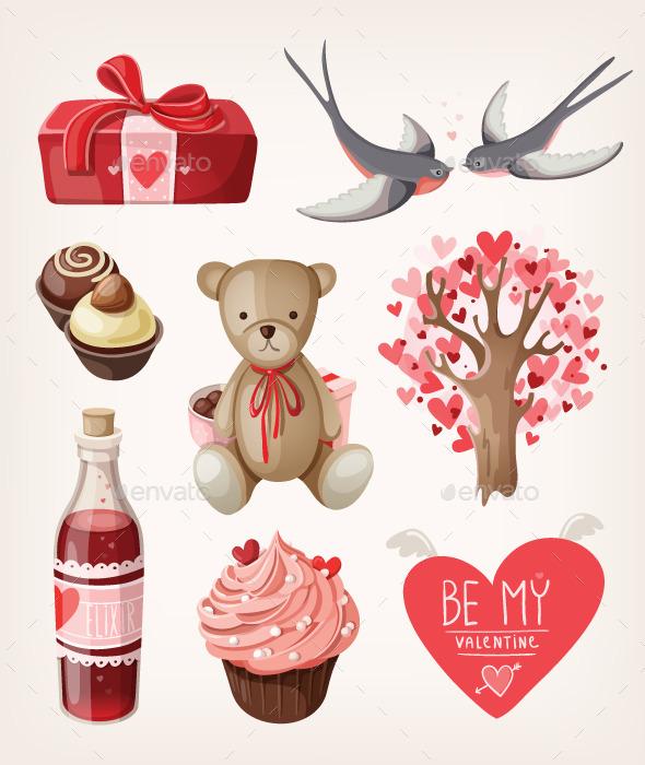Set of Romantic Items for Valentine Day - Valentines Seasons/Holidays