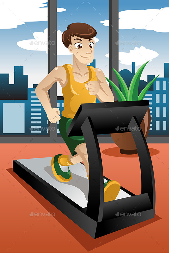 Man running on Treadmill - Sports/Activity Conceptual