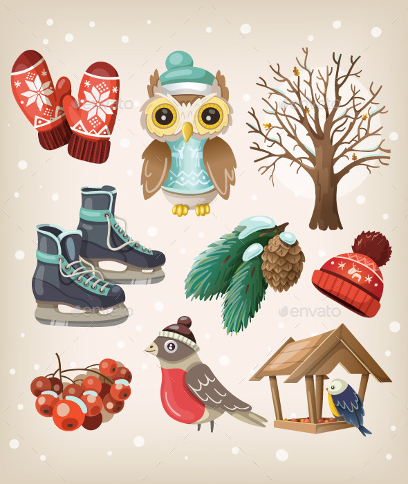 Set of Winter Items and Elements - Seasons/Holidays Conceptual
