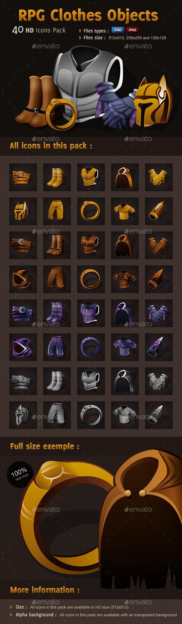 RPG Icons Pack - Clothes Objects - Miscellaneous Game Assets